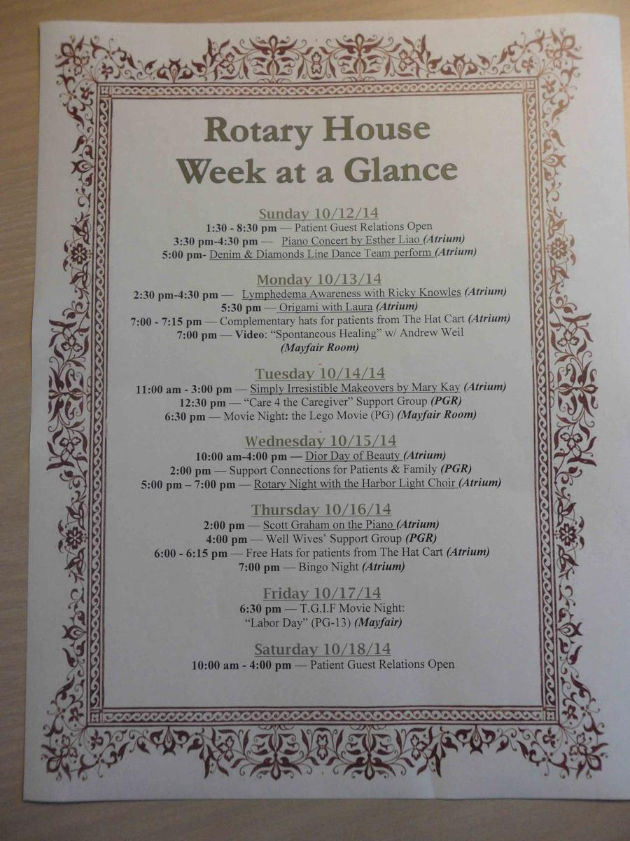 MD Anderson Rotary House Hotel weekly activity schedule