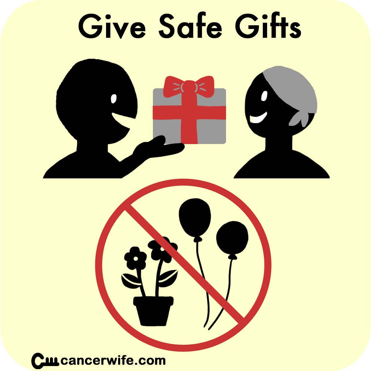 Tips for visiting cancer patients, give safe gifts, no fresh flowers or balloons