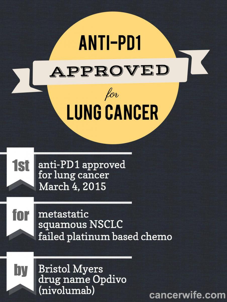 anti-PD1 approval for lung cancer NSCLC infographic